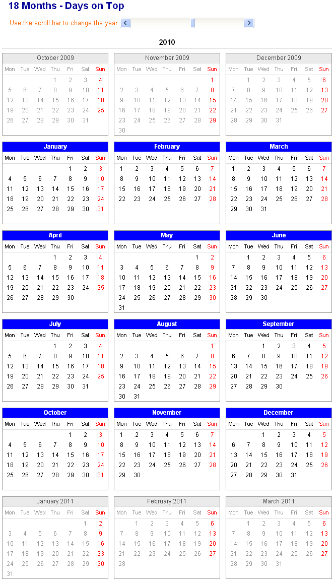image of adjustable and printable excel calendar 18 month calendar with days displayed on top. Black Bedroom Furniture Sets. Home Design Ideas